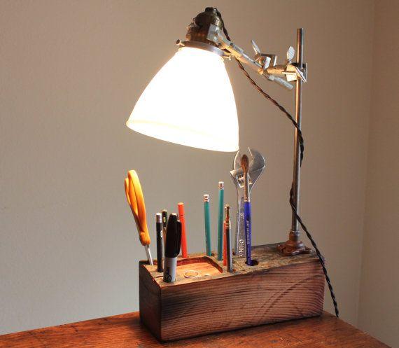 Industrial desk organizer lamp wood desk by OBJECTSofINDUSTRY