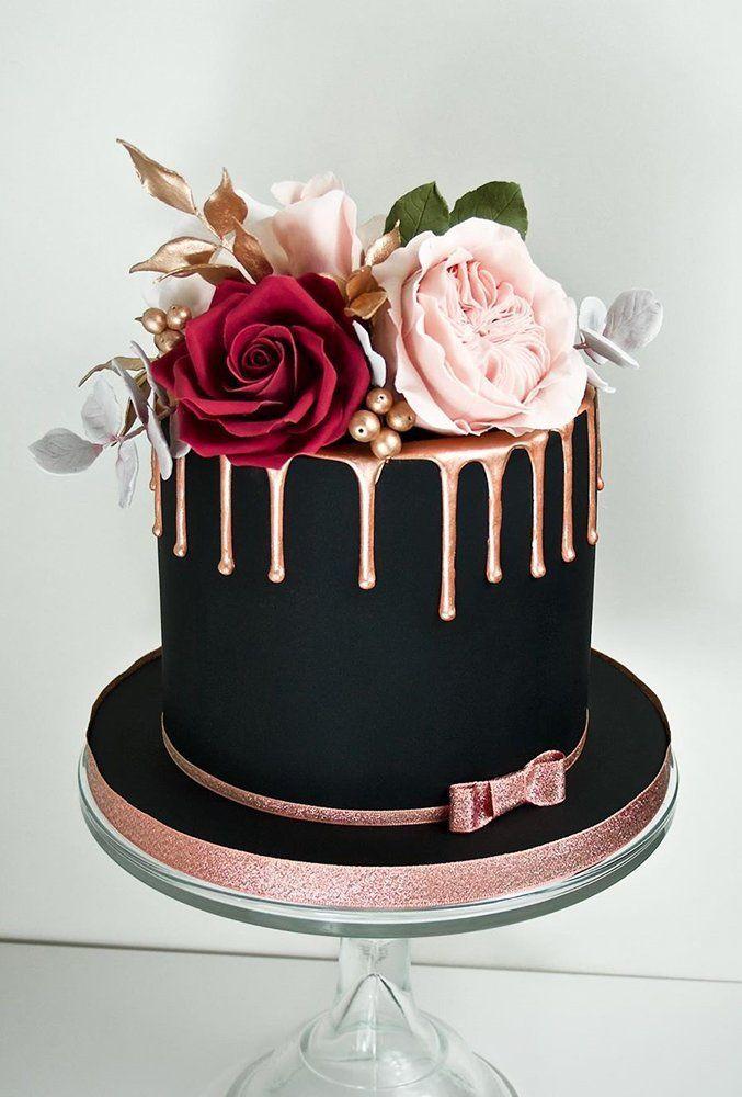 30 Stylish Black Wedding Cakes