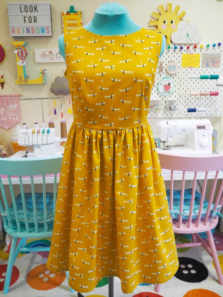 Made to Order Mustard Sausage Dog Dress - Ladies Handmade Dress
