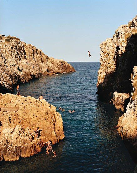 This rocky inlet near Santa Maria di Leuca, in Puglia, is irresistible for those ready to leap from the rocks and prove their manhood.