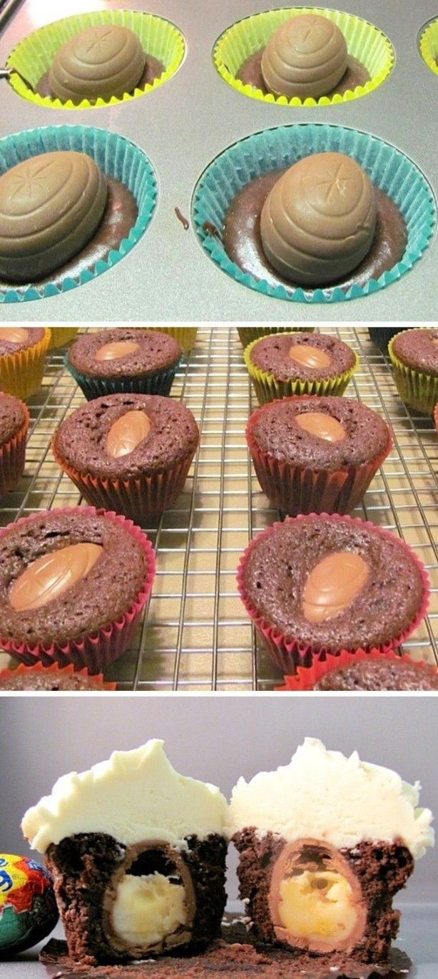 cupcake met een paasei erin yum!