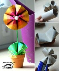Crafts for Kids:  Toilet paper tube flower