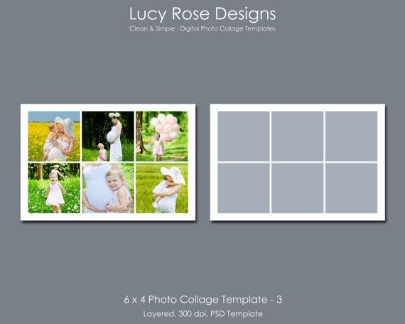 6 x 4 Photo Collage Template - 3 - $3