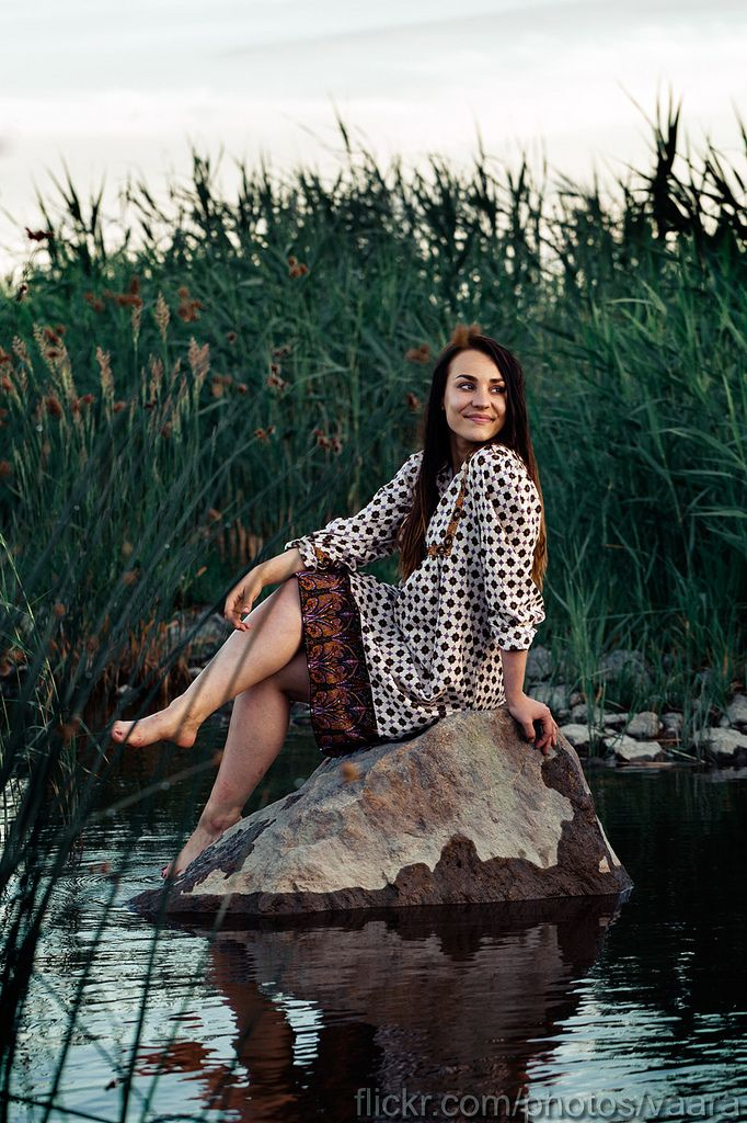 https://flic.kr/p/uLR6j4 | Near the Muddy Waters | ... She was sitting on rock that rose from the shore. Careful, don't cut your legs on the sharp stones that lie under the water surface.