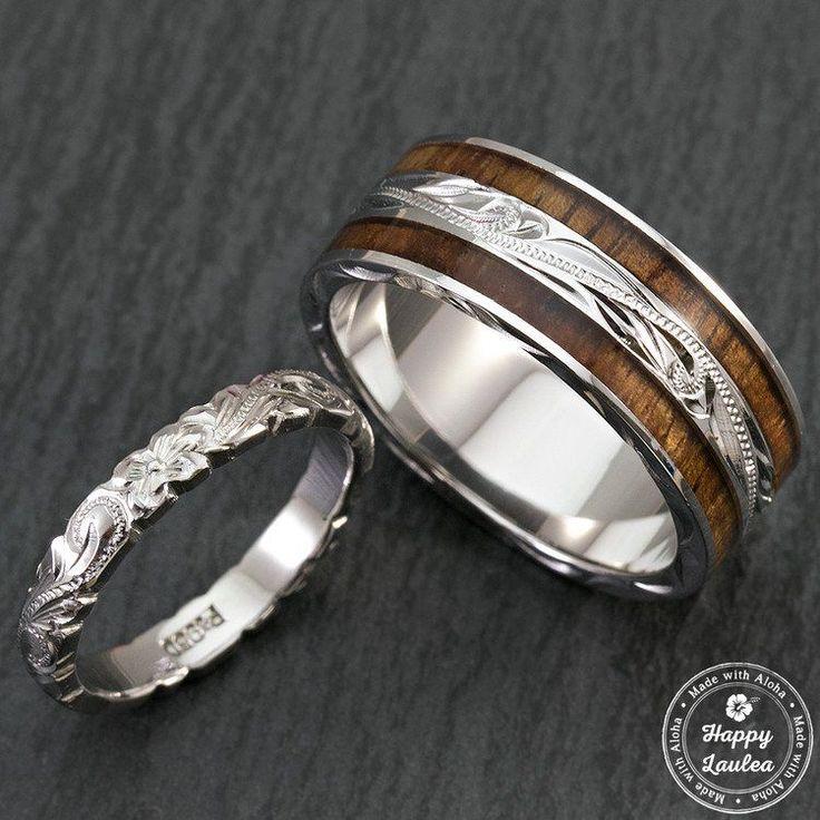 Pair of Hand Engraved Platinum and Sterling Silver Wedding Ring Set with Hawaiian Koa Wood Inlay