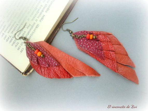 Long leather earrings, red-orange dangle earrings, long boho earrings, leather…