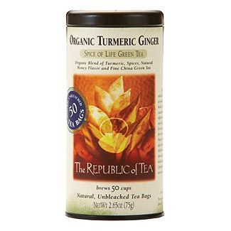Republic of Tea Organic Turmeric Ginger Green Tea: turmeric, green tea, ginger, cinnamon; gluten free, organic, sugar free