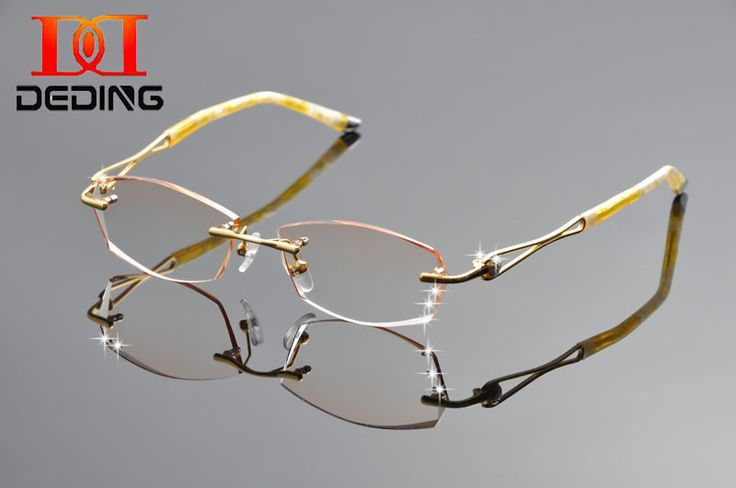 DeDing 2016 New High Quality Women Brand Titanium Rimless Rhinestone Gold Optical Eyeglasses Frame For Myopia Reading DD1252#rhinestone eyeglass frames