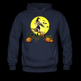 Halloween, witch on a broom, bats and pumpkins Hoodies. #Spreadshirt #Cardvibes #Tekenaartje #Halloween