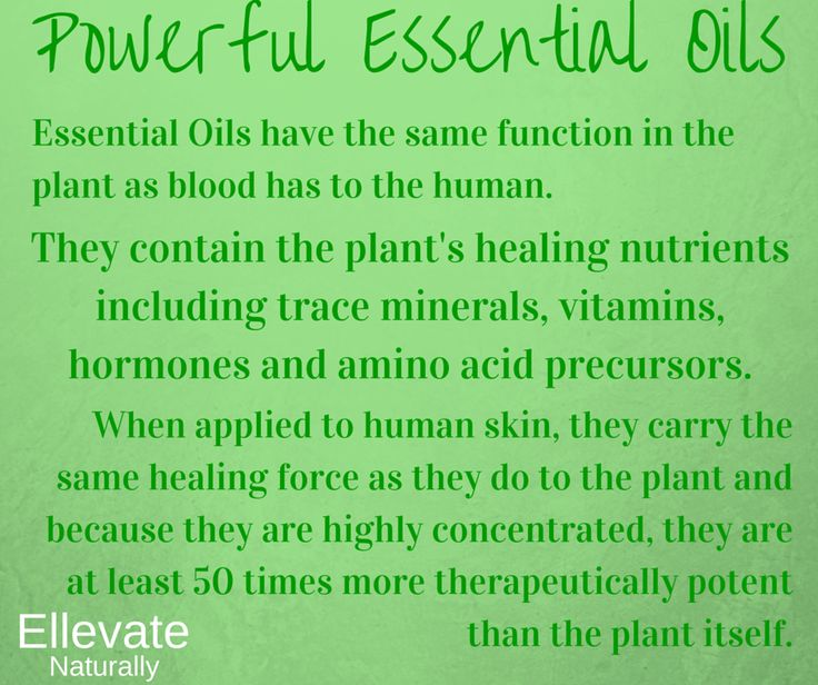 Essential Oils contain the plant's healing nutrients including trace minerals, vitamins, hormones and amino acid precursors. When applied to human skin, they carry the same healing force as they do to the plant and because they are highly concentrated, they are at least 50 times more therapeutically potent than the plant itself. https://www.facebook.com/ellevatenaturally/photos/a.512672888762584.128986.512666322096574/971284756234726/?type=1&theater