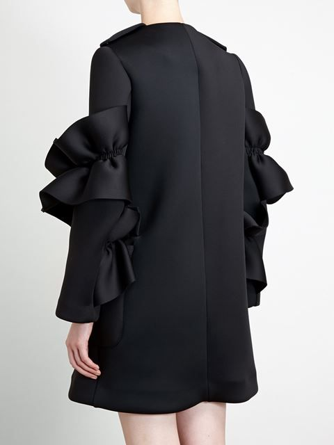 Shop Simone Rocha neoprene frill coat
