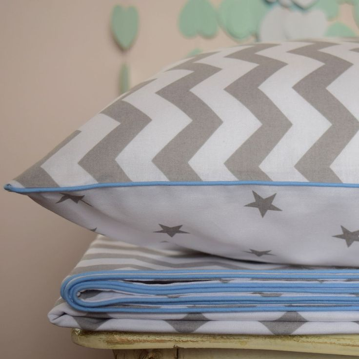 100% COTTON Children Single bedding Set Boys Grey Chevron Zig Zag Stars blue
