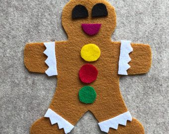 This Gingerbread Man comes with all the parts easily decorate and re-decorate any way you would like. Can also be used as a prop to The Gingerbread Man story. 11 Felt pieces / resealable bag included.