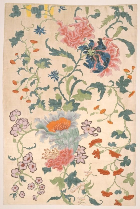 ~ China, mid-18th century textile, painted silk panel, via LACMA Collections