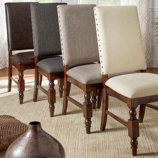 Shop for TRIBECCA HOME Flatiron Nailhead Upholstered Dining Chairs (Set of 2). Get free shipping at Overstock.com - Your Online Furniture Outlet Store! Get 5% in rewards with Club O!