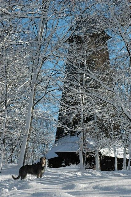 Observation tower on the top of Velký Blaník in winter (Central Bohemia), Czechia