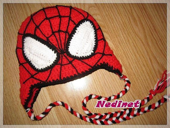 Black Friday Spiderman Superhero crochet hat  by NedinetCreations