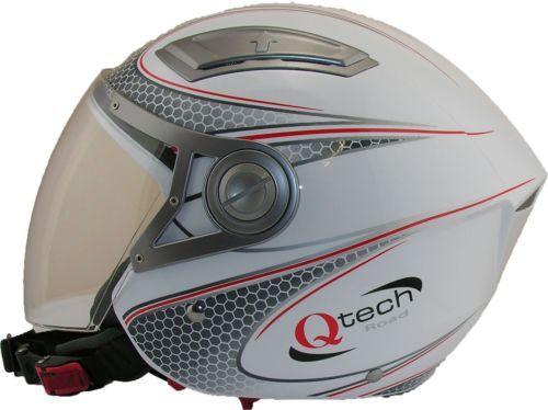 OPEN-Face-Crash-Helmet-by-Qtech-with-VISOR-Scooter-Motorbike-Motorcycle-WHITE £29.95 01270 841877