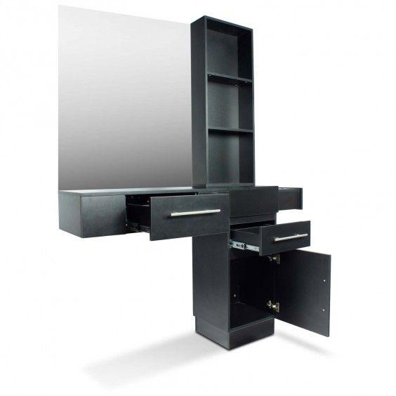 Black Single Sided Salon Styling Station