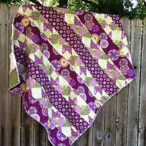 Rag Quilt Purple & Green Stripe Pattern Hand by TwoSisters: Patterns Hands, Green Quilt, Stripes Patterns, Purple Green, Rag Quilts Purple, Green Stripes, Stripes Quilts, Stripe Pattern, Rag Quilt Purple