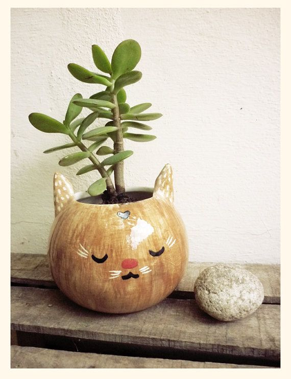 Brown cat pot by mirubrugmann on Etsy. @Katie Bryden, made me think of you. :-)