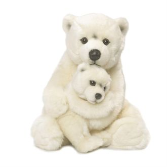 Plush polar bear mother & child, 28cm