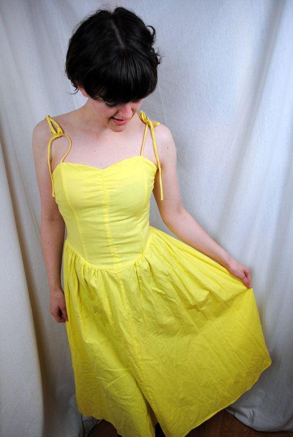 Vintage 1980s Yellow Wayne Diamond Summer Sun Dress by RogueRetro