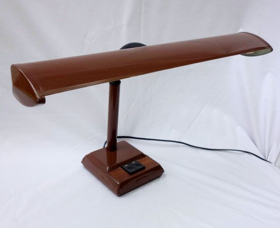Brown Desk Lamp Gooseneck  Mid Century Industrial by BeeHavenHome