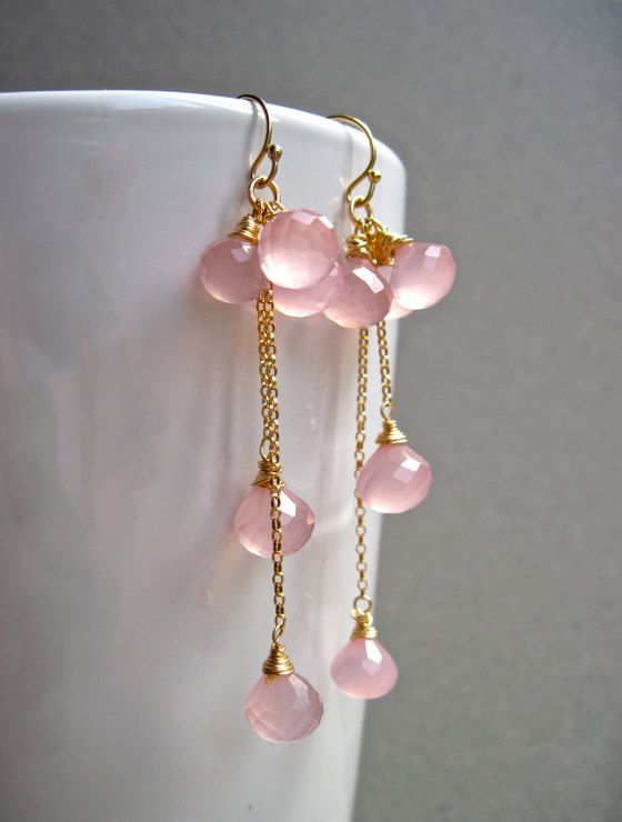 Light Pink Chalcedony Cluster Dangle Earrings by NellBelleDesigns