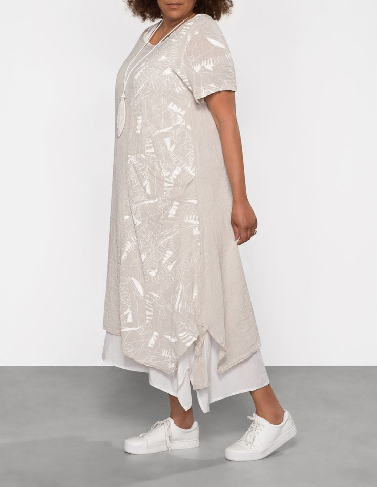 ZEDD PLUS - Layered linen blend dress - navabi
