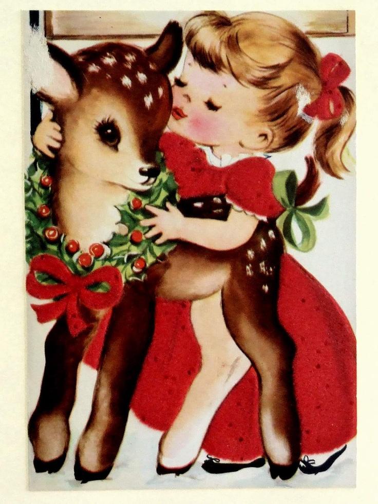 Little girl and vintage reindeer...