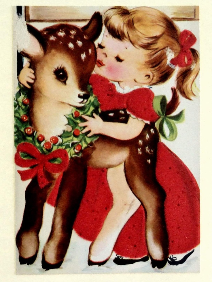 Vintage Christmas card, girl kissing reindeer. #christmas #card #girl #reindeer #retro #vintage #kitsch #illustration #art