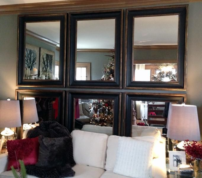 Bachman's Idea House via paperblog -- uniform mirrors on wall -- really want to try this in dining room #maudelovesbachmans