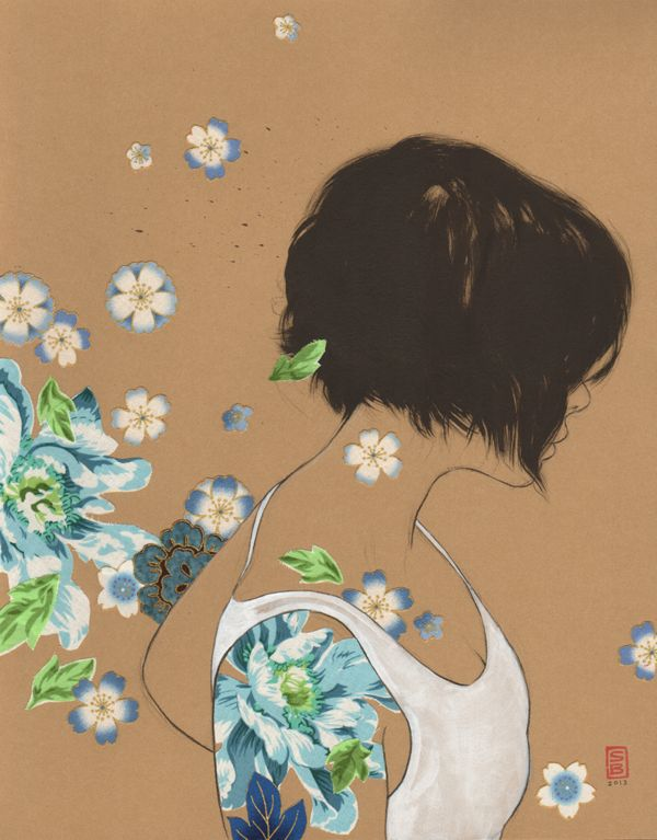Stasia Burrington: charcoal, sumi ink, arcylic paint and cut fabric flower collage