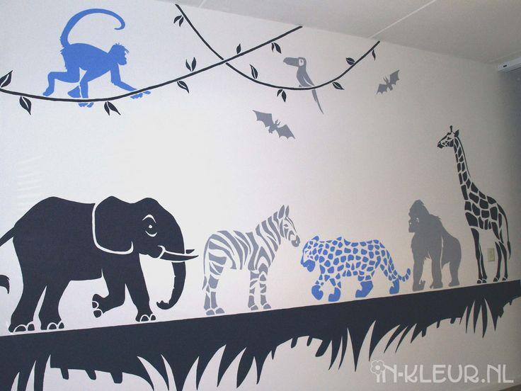 Jungle dieren muurschildering jongenskamer