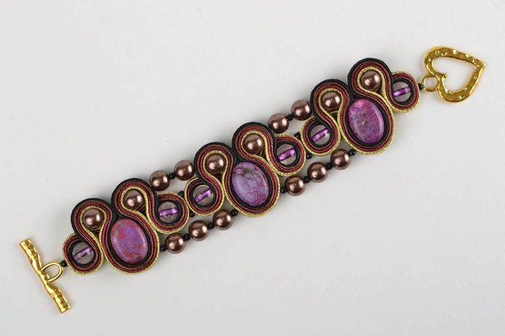Beautiful Handmade Soutache Wrist Bracelet with Howlite Natural Stone Gift Ideas | eBay