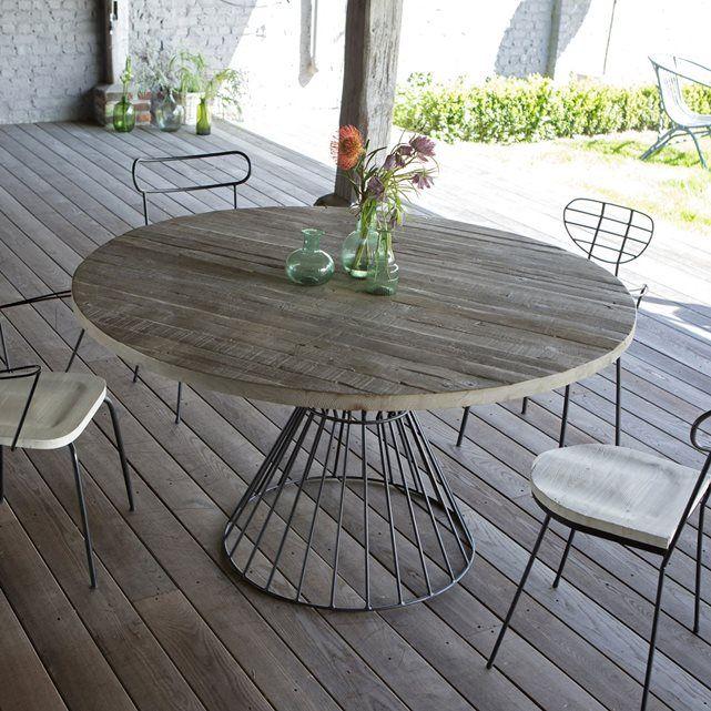 Salon de jardin table ronde d\'extérieur metal noir et pin mobilier ...