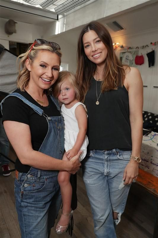 Beverley Mitchell, Kenzie Lynne Cameron and Jessica Biel seen at Levi's Brand Back to School event hosted by Au Fudges's Jessica Biel and Estee Stanley in Los Angeles on Aug. 17, 2016