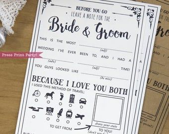 Mad Libs Game Wedding Printable, Wedding Game, Marriage Advice Cards, Rustic Wedding, Advice for the Bride, Geek Wedding, INSTANT DOWNLOAD