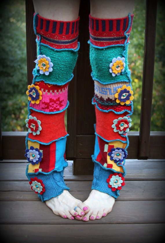 Upcycled thrifts store sweaters - cut up the sleeves and make fun fab leg warmers!
