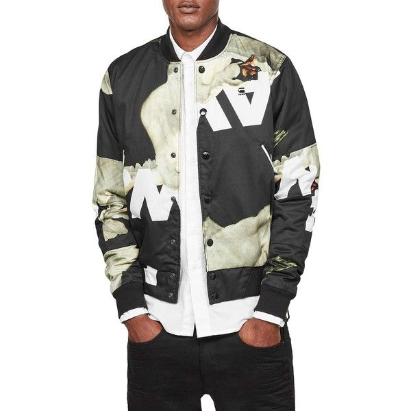 G-Star RAW Printed Bomber Jacket ($280) ❤ liked on Polyvore featuring men's fashion, men's clothing, men's outerwear, men's jackets, mens jackets, mens blouson jacket, mens fur lined bomber jacket and mens bomber jacket