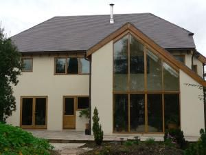 Staffs Blue clay roof tiles on a self build house in Bedworth