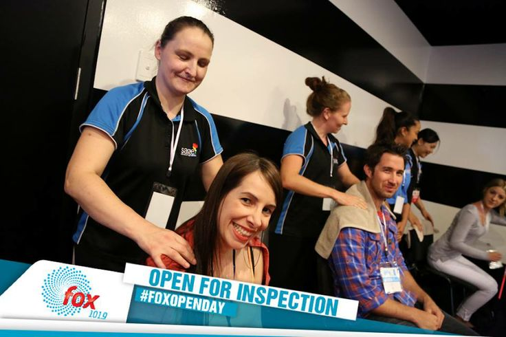 Our Sage Massage students at Fox FM's VIP Open for Inspection event! What a fantastic event to be a part of. Don't forget, if you have done your final assessment and first aid you too can take part in great events just like this! Just register with your fantastic career agent Amy.Oneill@sage.edu.au