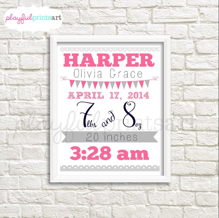 A personal favorite from my Etsy shop https://www.etsy.com/ca/listing/263564936/birth-info-banner-print