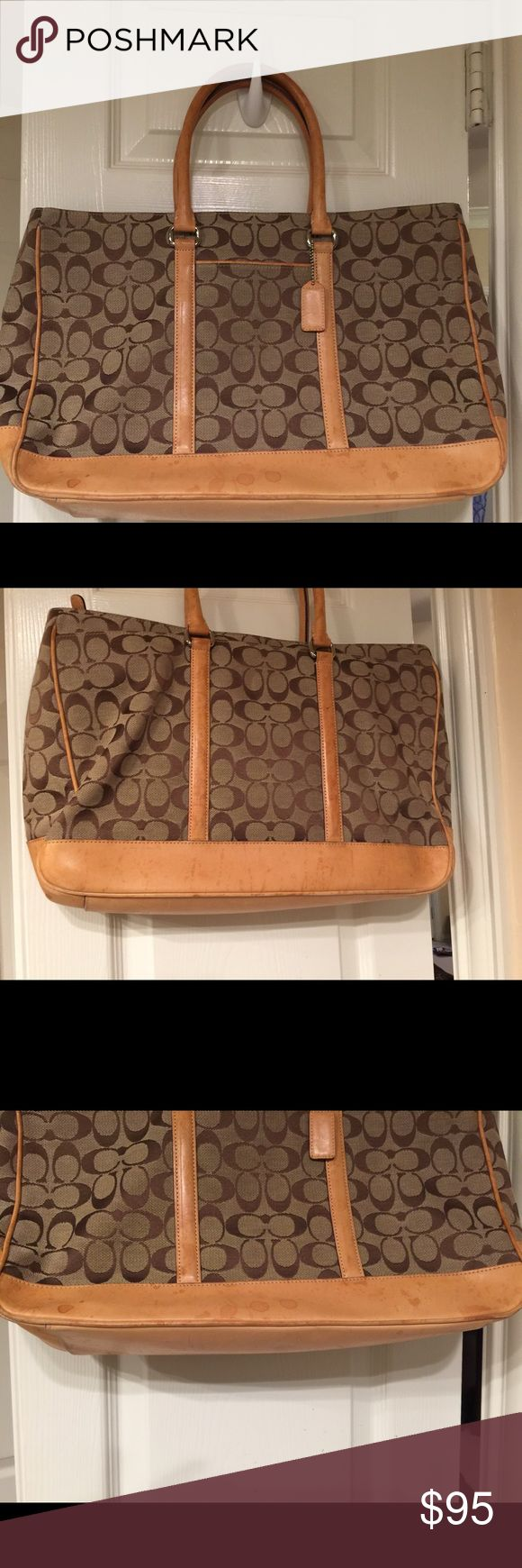 Signature collection Coach briefcase / laptop bag Coach briefcase. Has some water stains on leather. Leather will get darker with more use. Coach Bags Laptop Bags