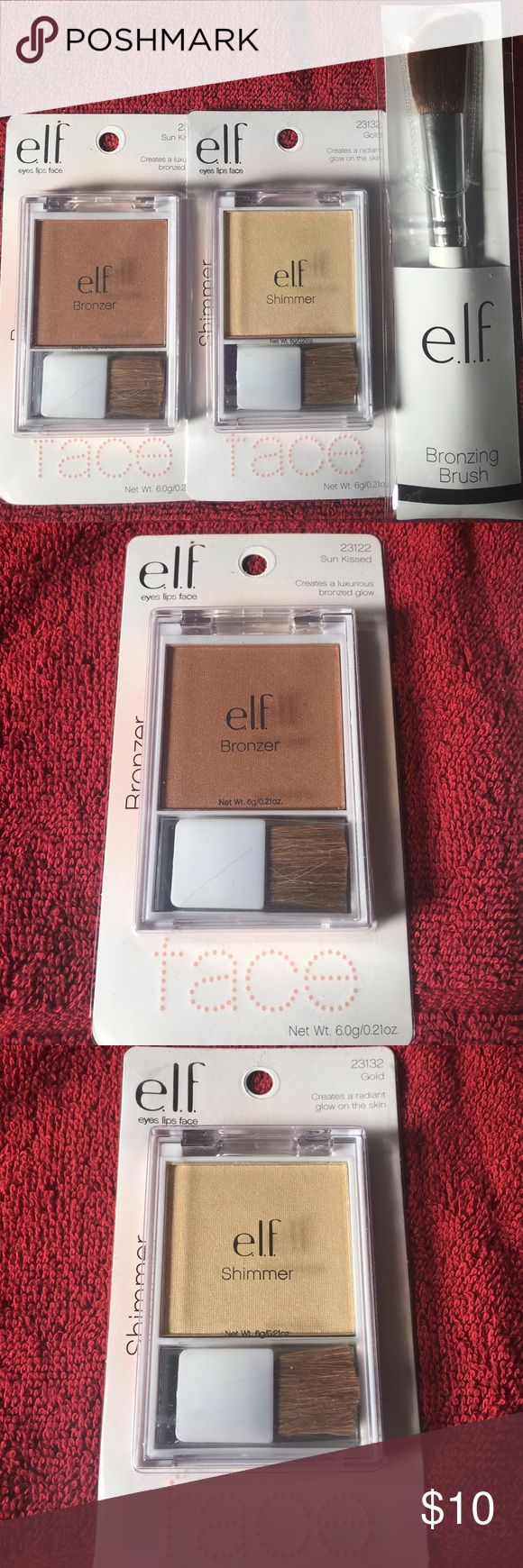 Elf Face Bronze/Highlight Bundle Bundle includes one Bronzer in Sun Kissed, one Shimmer Highlight in Gold, and one Bronzing Brush. All brand new in package. ELF Makeup