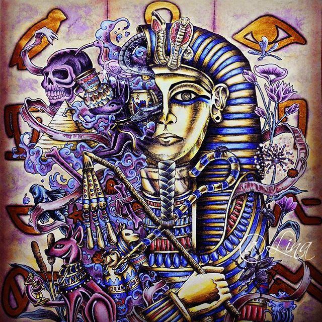 "WEBSTA @ linochka_onufrienko - Фараон Тутанхамон. ""Имаджиморфия"" (""Метаморфозы"") от иллюстратора Керби Розанеса.#раскраски#раскраскидлявзрослых #раскраскиантистресс #coloring #coloringbooks #имаджиморфия #метаморфозы #кербирозанес #imagimorphia #kerbirosanes"