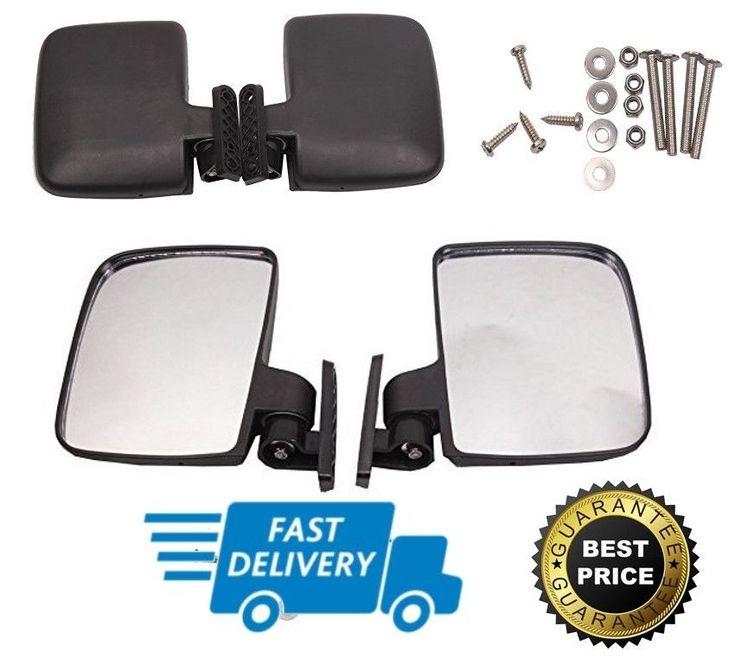 Golf Cart Side Mirrors Accessories Parts Kit For Club Car EZGO E-Z-GO Yamaha Set #BETOOLL