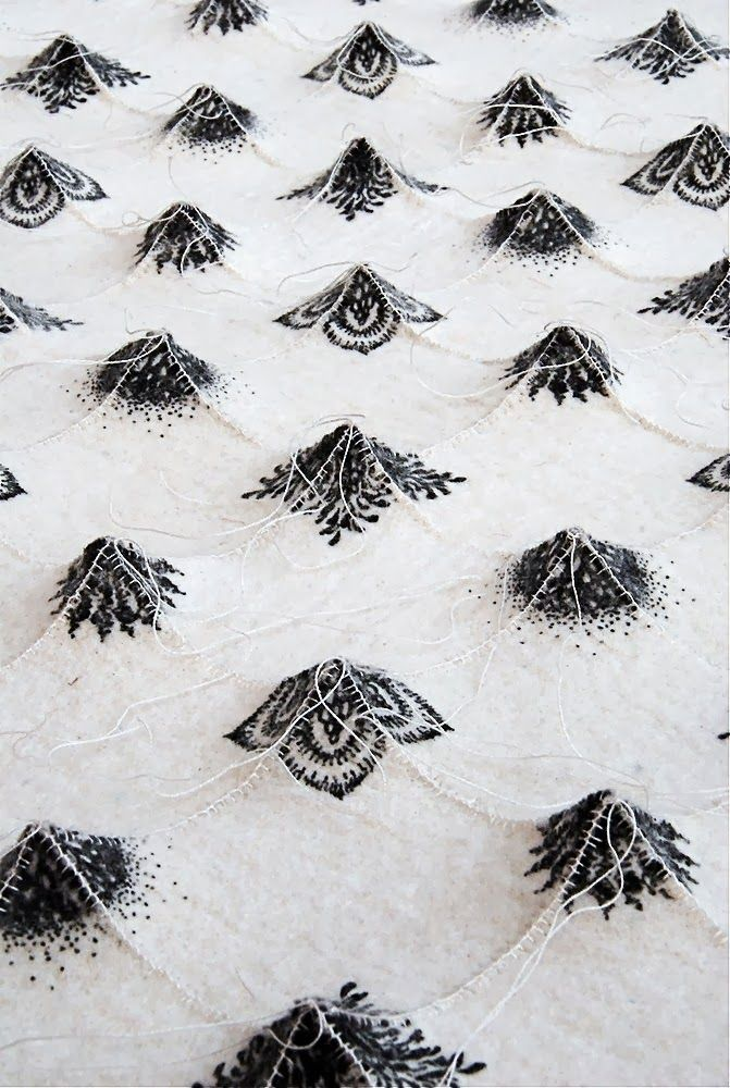3D Textiles Surfaces - constructed textile design with dimensional peaks and black & white stitch detail // Chung-Im Kimmeios