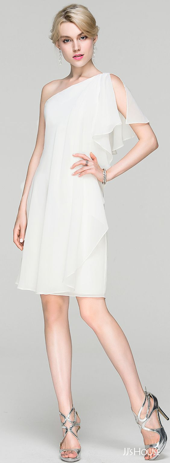 White dress cocktail party - Sheath Column One Shoulder Knee Length Chiffon Cocktail Dress With Ruffle 016094382